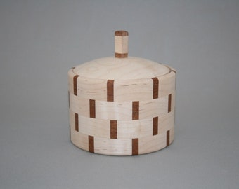 Segmented Round Maple and Mahogany Box