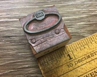Vintage Letterpress Printer Block Oval Bruce Sign Logo Seal Type Stamp