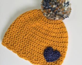 Gold Beanie with Heart, Ready to Ship, Crochet Girls Hat, Girls Beanie, Baby Girl Hat, Girls Winter Hat