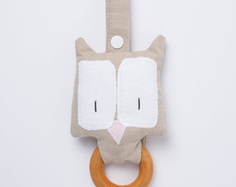 Beige teething toy, Organic teething ring, Baby Girl Wooden Toy, Natural teething toy, Owl teether, Montessori baby gift, Owl soft toy
