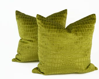 """Pair of 22"""" Green Chartreuse Crocodile Velvet Pillow Covers"""