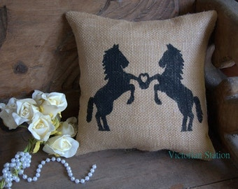 Burlap horse pillow,Bride and groom pillow,western,shabby chic