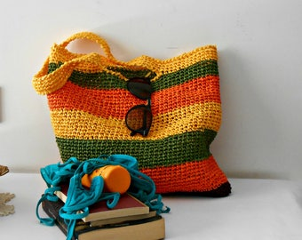 Raffia shopping bag, block colors shoulder bag, crochet tote bag green, orange yellow vegan backpack, crochet beach bag, gift for mom