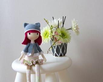 Kitty Doll  PDF crochet pattern. Cute girl gift pattern. Baby shower gift pattern. Nursery decoration amigurumi pattern