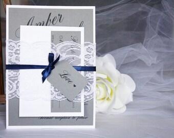 Grey and Navy Lace Wedding Invitations, Grey and Blue Lace Wedding Invitations, Grey and Navy Wedding, Lace Wedding Invitations