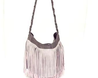 Fancy Leather Messenger Bag Grey Pink Suede Fringes Large Big Shoulder Boho Hobo OLA Olaccessories FREE SHIPPING