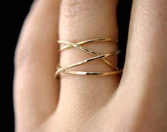 Großen wickeln Sie Gold Ring, 14 k Gold füllen, umlaufende Ring, gewickelt gold Ring, gold cocktail-Ring, gold Wrap-around-Ring, zierlicher ring