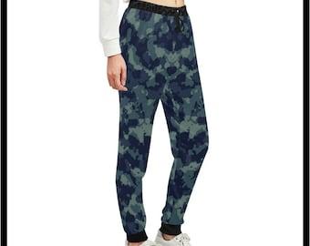 Blue Camo Jogger Sweatpants for Women