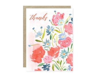 Thanks Watercolor Floral Note Card Set