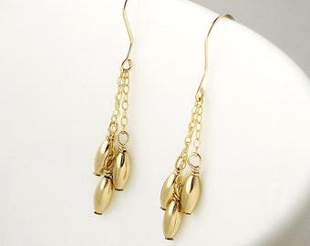 Marilyn - delicate gold earrings - gold drop earrings - dangle earrings - earring gift for her