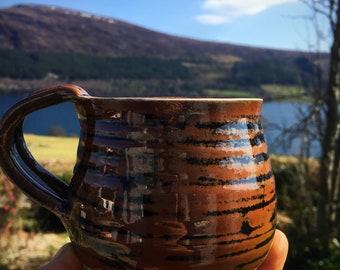 Pottery ceramic mug  coffee cup brown black stoneware