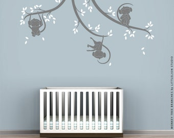 Monkey Tree Branches Wall Decal by LittleLion Studio - Duotone