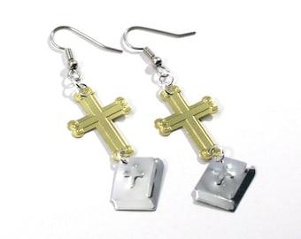 Religious Earrings Cross & Bible Earrings Gold Silver Metallic Confetti Dangles Plastic Sequins