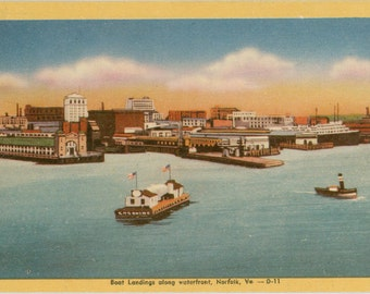 Norfolk Virginia Boat Landings Along Waterfront Vintage Postcard (unused)