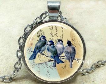 Blue birds vintage art pendant, blue jays necklace, blue jays jewelry, blue bird necklace, blue birds, bird, blue jays, Pendant #AN208P