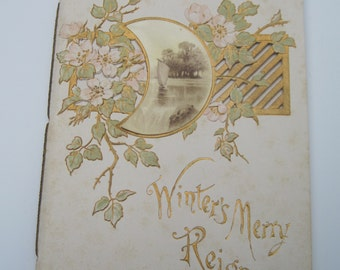 Vintage Poetry Winters Merry Reign Book Printed by Raphael Tuck & Sons no. 515 by Randall N Saunders Illustrated by Albert Bowers