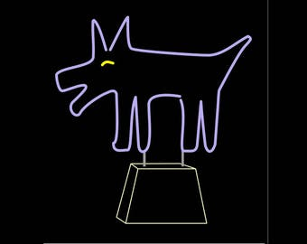 Happy Dog Freestanding Neon Art Sign Light Sculpture (or your dog!!!)