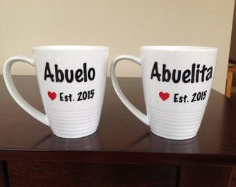 Set of Abuelita Est. 20xx and Abuelo Est. 20xx Coffee Mugs - Choose Your Colors!