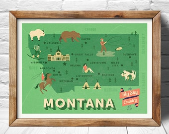 Montana Map, The equality state map, original map, nursery map, Home State Map, Montana state poster, modern family map,state family map