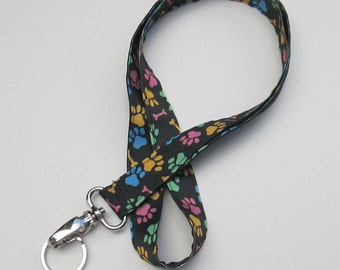Dog Print Lanyard Keychains for Women,Cool Lanyards for Keys,Id Badge Holder Necklace Lanyards,Cute Lanyards for Badges, Paw Prints