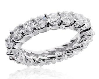 4.00 Carat 14-k Round Brilliant Diamond Eternity Wedding Ring