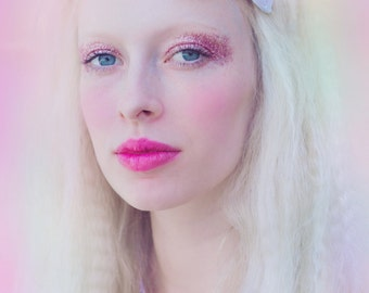 Pastel White Glitter Hair Bow, Sparkly Glitter Bow, Snow White Hair Bow, Party Hair Bow