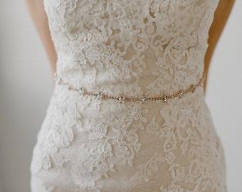 Thin Rose Gold Bridal Belt Crystal Bridal Sash Rhinestone