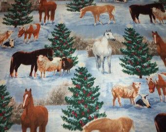 Horses Christmas Fabric Trees Sheep Cotton By Fat Quarter New BTFQ