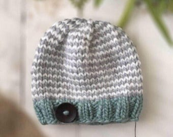 Baby Knit Hat, Toddler Knit Hat, Girl Knit Hat, Baby Boy Hat, Blue Baby Hat, Blue Hat with Button