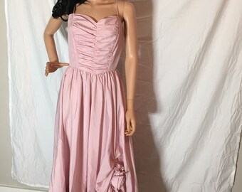 Vintage Handmade Dusty Rose Pink Dress Spaghetti Straps, Ruched Bodice and Full Skirt