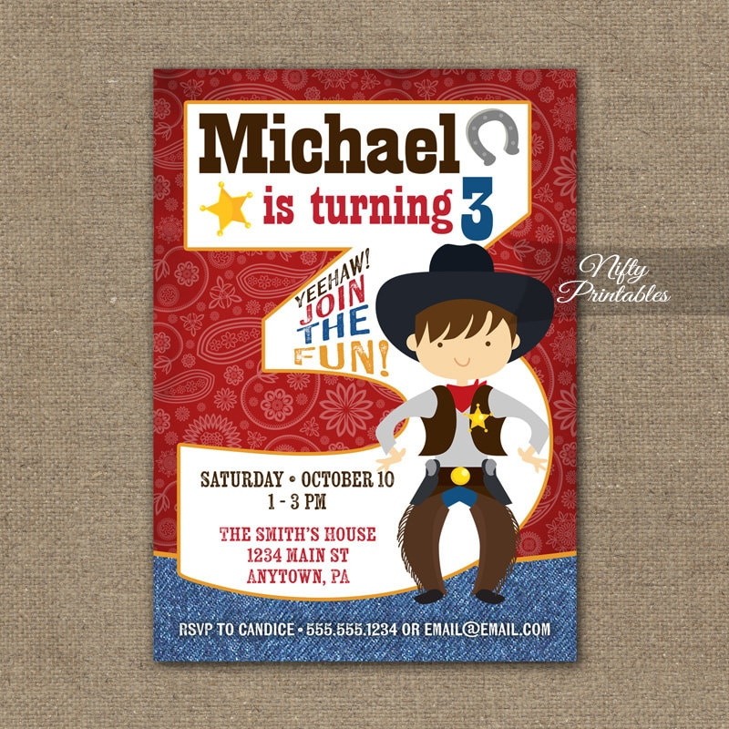 Cowboy Birthday Invitation 3rd Birthday Invitations Boys