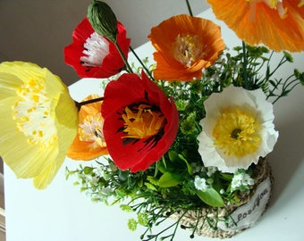 The close looks very real, flower arrangement; Poppy ,Non-allergenic, unscented flowers, Not silk flowers