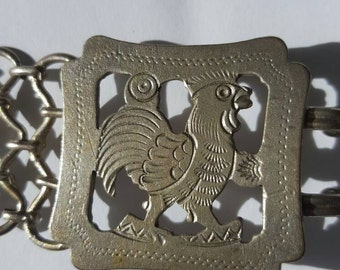Antique EPNS Edwardian chain link antique belt simple metal links and ornate rooster buckle from antique/estate aution