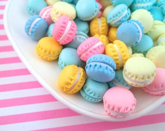 4 15mm Polymer Clay Multicolor Round Macaron Cookie Cabochons, Cute Decoden Macaroon Decoden Cabs #275