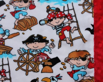 Travel Pillowcase - Pirate Print Minky with Red Dimple Dot Border - great for a Toddler or Travel Pillow