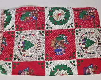 Vintage Homemade Christmas Pillowcase Standard Red Green Holiday Ruffle