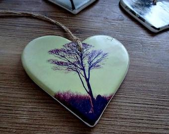 Winter Tree Ceramic Hanging Heart Ornament