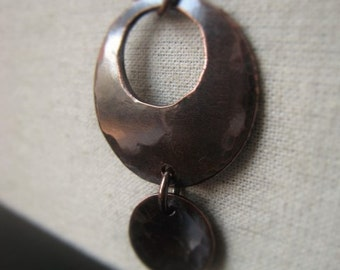 Copper Pendant Hammered Copper Circle Pendant Oxidized Copper Drop Item No. 0081