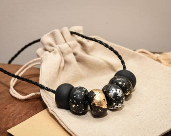 Clay Beads, Black and Silver, Black and Gold, Faux Leather Necklace, Bohemian Jewellery, Minimalist, Beaded Necklace, Beaded Jewellery, Boho