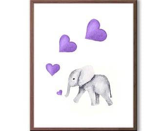 Purple and Gray Nursery Art, Elephant Nursery Decor, Elephant Watercolor Print, Hearts, Bubbles, Baby Elephant Wall Art, E210