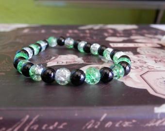 black bracelet, onyx bracelet, elastic bracelet, onyx jewelry, beaded bracelet, crystal bracelet