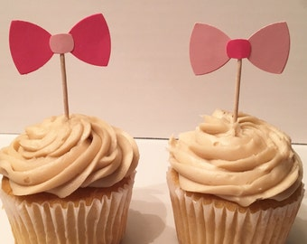 12 Bow Tie Cupcake Toppers Bow Cupcake Toppers Tuxedo Cupcake Toppers Birthday Cupcake Toppers Wedding Shower Cupcake Toppers Party Picks