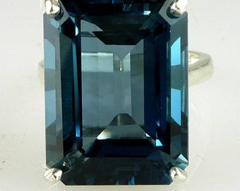 Very Large Rare Natural Emerald Cut London Blue Topaz Ring 925 Sterling Silver 26.91 Carats
