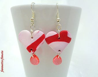 """Fimo earrings """"heart red and white + Perle Goutte""""-handmade"""