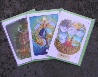 Goddess Card Pack, Pagan Cards, Spiritual Cards, Goddess Art, Spiritual, World Tree, Labyrinth, Elen of the ways, Yin Yang, Celtic Shaman