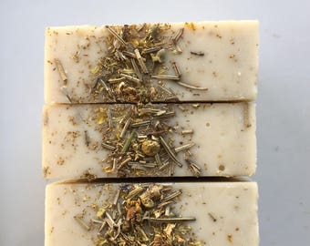 Chamomille rosemary infused soap | natural soap, chamomile soap, rosemary soap, cold process soap.