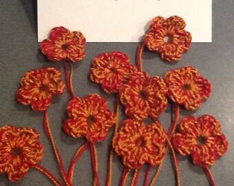 Tiny crochet flowers, one set of 10