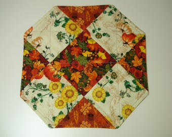 AUTUMN To WINTER Candle Mat / REVERSIBLE Seasonal Quilted Candle Mat / Pumpkins Sunflowers Leaves / Snowmen and Bears