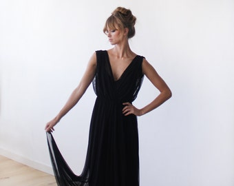 Black sheer chiffon maxi dress, Maxi chiffon formal gown 1090