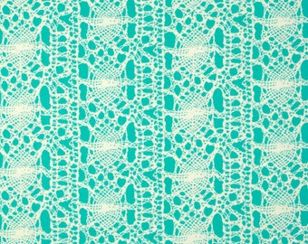 Amy Butler, True Colors, Stocking in Seafoam, Lace Fabric, Stripes, Turquoise and White Fabric, Free Spirit PWTC023.SEAFO